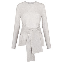 Buy Whistles Tie Front Long Sleeve Knit Top, Grey Online at johnlewis.com