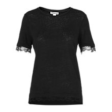 Buy Whistles Lace Trim Linen T-Shirt, Black Online at johnlewis.com
