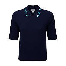 Buy Pure Collection Abbie Sparkle Jewel T-Shirt, Navy Online at johnlewis.com