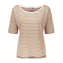 Buy Pure Collection Stripe Farrah T-Shirt, Sand Online at johnlewis.com