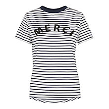 Buy Whistles Merci Striped Tee, White/Multi Online at johnlewis.com