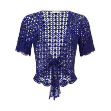 Buy Jacques Vert Crochet Tie Front Cover Up, Blue Online at johnlewis.com