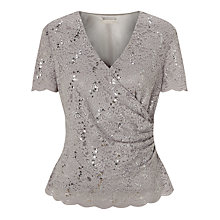 Buy Jacques Vert Jersey Lace Top, Light Grey Online at johnlewis.com