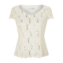 Buy Jacques Vert Jersey Lace Top, Ivory Online at johnlewis.com