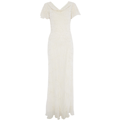 Raishma Draped Neck Gown, Ivory
