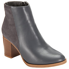 Buy John Lewis Mixed Texture Block Heeled Ankle Boots, Grey Online at johnlewis.com