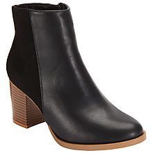 Buy John Lewis Mixed Texture Block Heeled Ankle Boots, Black Online at johnlewis.com