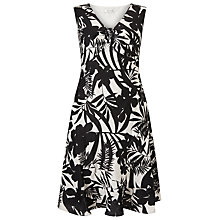 Buy Precis Petite Palm Print Linen Dress, Black Online at johnlewis.com