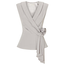 Buy Jacques Vert Rosette Crepe Top, Light Grey Online at johnlewis.com