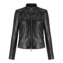 Buy BOSS Orange Janabelle Leather Jacket Online at johnlewis.com