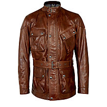 Buy Belstaff Panther Hand-Waxed Leather Belted Jacket, Brown Online at johnlewis.com