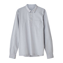 Buy Jigsaw Linen Cotton Stripe Overhead Regular Fit Shirt, Silver Online at johnlewis.com