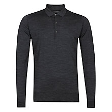 Buy John Smedley Cotswold Merino Wool Long Sleeve Polo Shirt, Charcoal Online at johnlewis.com