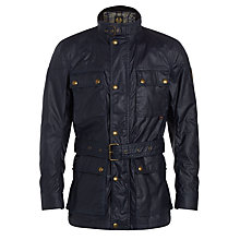 Buy Belstaff Roadmaster 4 Pocket Waxed Jacket, Navy Blue Online at johnlewis.com