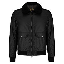Buy Belstaff Mortimer Waxed Cotton Shearling Blouson Jacket, Black Online at johnlewis.com