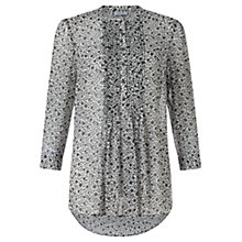 Buy Jigsaw Ikat Floral Silk Blouse, Green Online at johnlewis.com