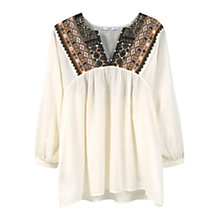 Buy Mango Embroidered Cotton Blouse, Light Beige Online at johnlewis.com