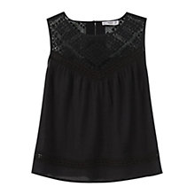 Buy Mango Openwork Cotton Top, Black Online at johnlewis.com