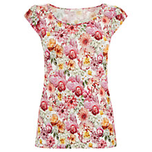 Buy Oasis Floral Bunch Shell T-Shirt, Navy Online at johnlewis.com