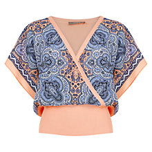 Buy Oasis Naomi Wrap Top, Coral Online at johnlewis.com