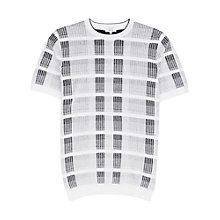 Buy Reiss Cooper Check Crew Neck Short Sleeve Jumper, White Online at johnlewis.com