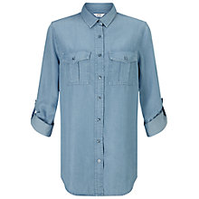 Buy Miss Selfridge Supersoft Denim Shirt, Bleached Blue Online at johnlewis.com