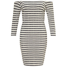 Buy Miss Selfridge Petite Stripe Bardot Bodycon Dress, Ivory Online at johnlewis.com