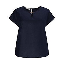 Buy Windsmoor Ladder Detail Linen Top, Navy Online at johnlewis.com