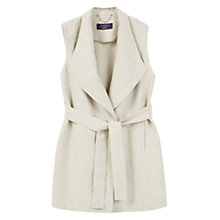 Buy Violeta by Mango Long Linen Blend Vest Jacket, Light Beige Online at johnlewis.com