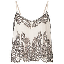 Buy Miss Selfridge Embellished Cropped Cami Top, Beige Online at johnlewis.com