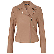 Buy Miss Selfridge Faux Leather Biker Jacket, Tan Online at johnlewis.com