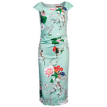 Buy Jolie Moi Retro Floral Print Wiggle Dress, Aqua Online at johnlewis.com