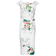 Buy Jolie Moi Retro Floral Print Wiggle Dress, White Online at johnlewis.com