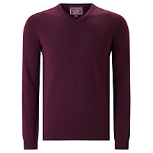 Buy John Lewis Made in Italy Merino Wool V-Neck Jumper, Wine Online at johnlewis.com