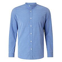 Buy John Lewis Carbon Finish End on End Grandad Collar Shirt, Blue Online at johnlewis.com