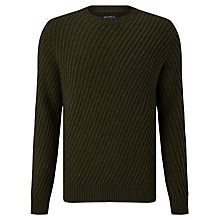 Buy JOHN LEWIS & Co. Diagonal Rib Wool Jumper, Khaki Online at johnlewis.com