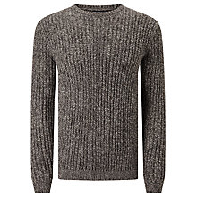 Buy JOHN LEWIS & Co. Fisherman Rib Crew Neck Jumper, Grey Online at johnlewis.com