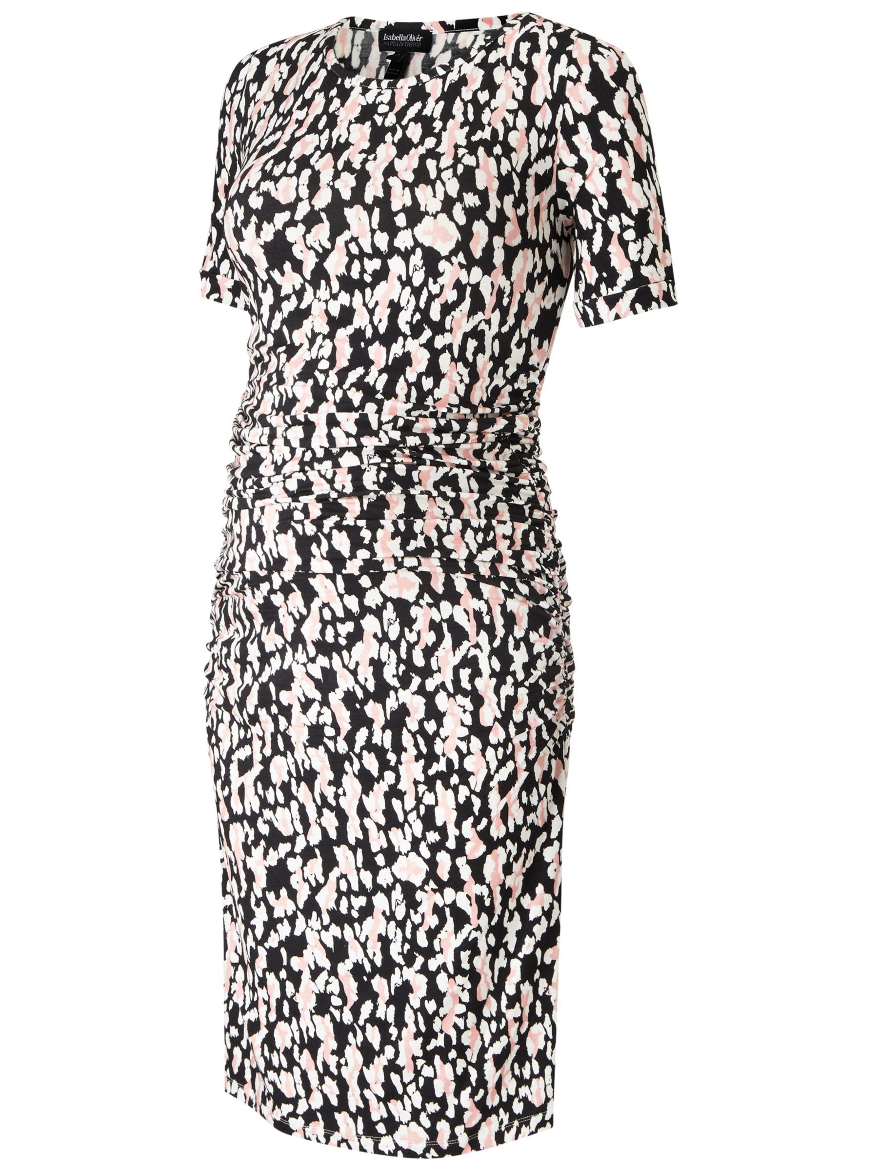 Isabella Oliver Isabella Oliver Ida Ruched Maternity Dress, Black/White