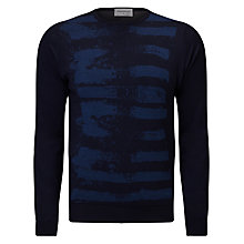 Buy John Smedley Paint Long Sleeve Jacquard Jumper, Midnight/Indigo Online at johnlewis.com