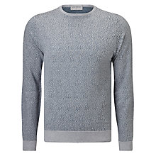 Buy John Smedley Organic Jacquard Crew Neck Jumper, Bardot Grey/Brando Blue Online at johnlewis.com