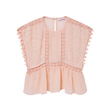 Buy Mango Embroidered Flowy Blouse, Pink Online at johnlewis.com