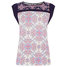 Buy Oasis Tile Patched Frill Sleeve Top, Multi Natural Online at johnlewis.com