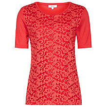 Buy Reiss Yoko Lace Front T-Shirt, Cherry Red Online at johnlewis.com