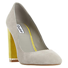 Buy Dune Adriane Contrast Block Heeled Court Shoes, Grey Online at johnlewis.com
