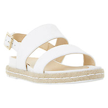 Buy Dune Lacrosse Espadrille Sandals, White Leather Online at johnlewis.com