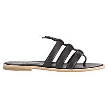 Buy Jigsaw Isla Triple Strap Toe Post Sandals, Black Online at johnlewis.com