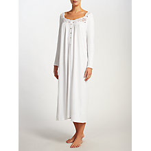 Buy John Lewis Classic Lace Trim Long Sleeve Nightdress, White Online at johnlewis.com