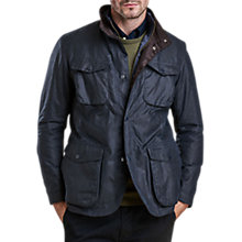 Buy Barbour Ogston Wax Jacket, Navy Online at johnlewis.com