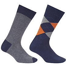 Buy John Lewis Made in Italy Cotton Cashmere Argyle Stripe Socks, Pack of Two, Navy/Orange Online at johnlewis.com
