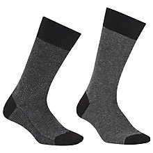Buy John Lewis Made in Italy Cotton Cashmere Herringbone Stripe Socks, Pack of 2 Online at johnlewis.com